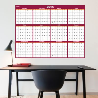 Cranberry & Orange Dry Erase 2014 Blank Calendar - Large Fathead Wall Decal