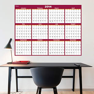 Cranberry & Orange Dry Erase 2014 Blank Calendar - Large
