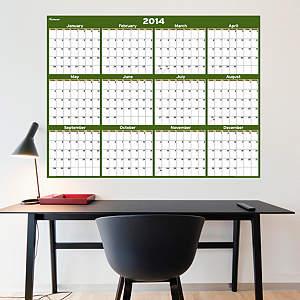 Forest & Khaki Dry Erase 2014 Blank Calendar - Large Fathead Wall Decal