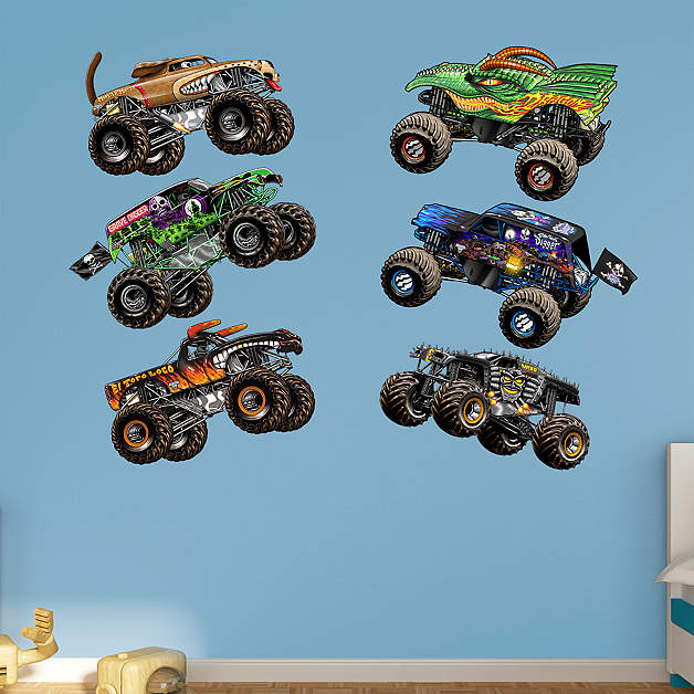 Fatead Monster Jam wall decals of monster trucks