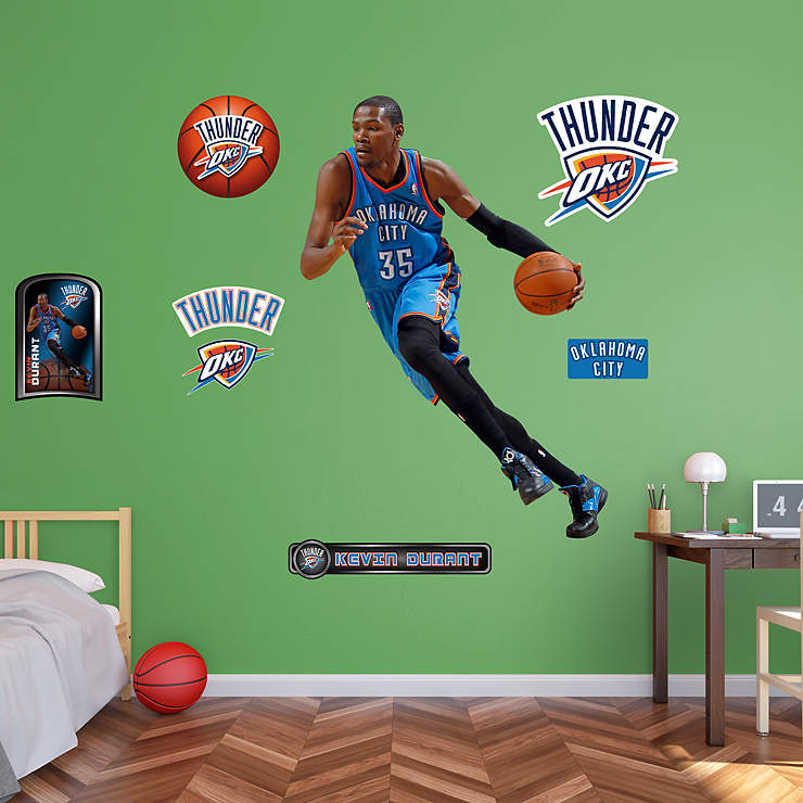 Okc Thunder Bedroom Decor: Life-Size Kevin Durant - No. 35 Wall Decal
