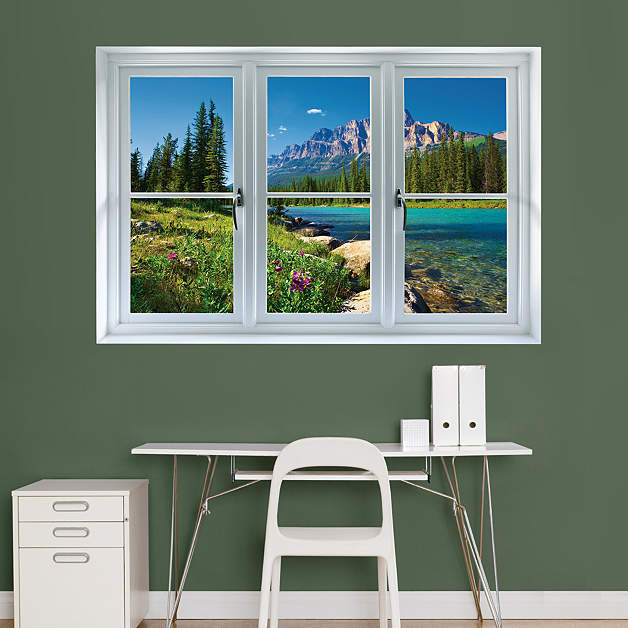 Banff mountains in bloom instant window wall decal shop for Instant interior wall