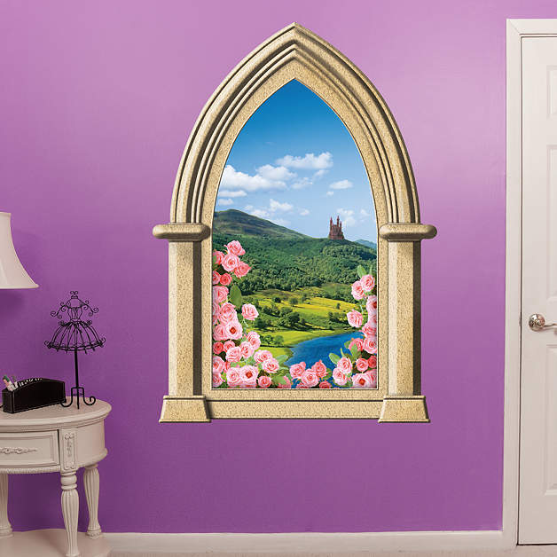 Fairy tale castle instant window wall decal shop for Castle wall mural sticker