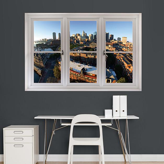 Boston Skyline Instant Window Wall Decal Shop Fathead