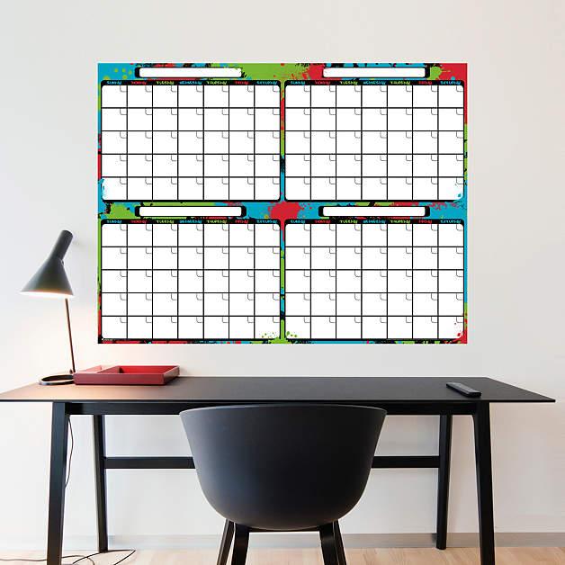 Dry erase wall decal calendar