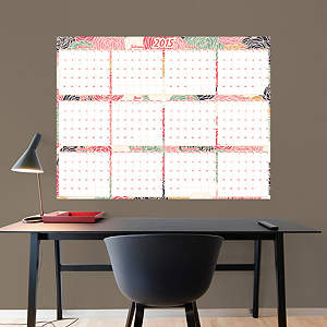 Large Dry Erase 2015 Calendar  -  Floral Fathead Wall Decal