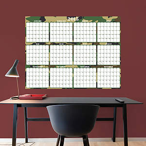 Large Dry Erase 2015 Calendar  -  Camouflage Fathead Wall Decal