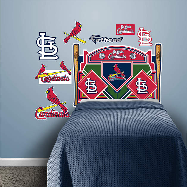 st louis cardinals headboard twin bed wall decal shop. Black Bedroom Furniture Sets. Home Design Ideas
