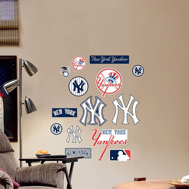 new york yankees team logo assortment wall decal shop fathead