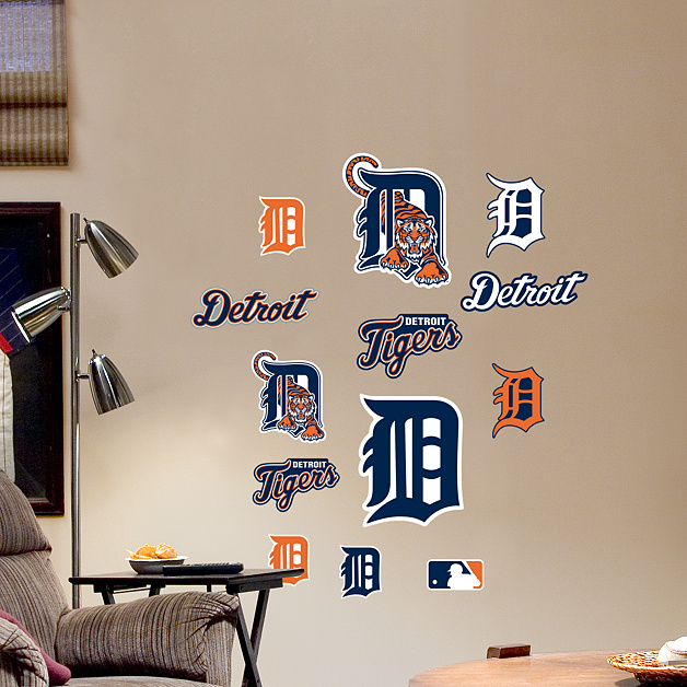 Detroit tigers team logo assortment wall decal shop for Comerica park wall mural