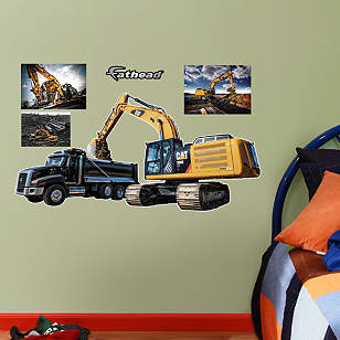 Cat Excavator and Truck - Fathead Jr.