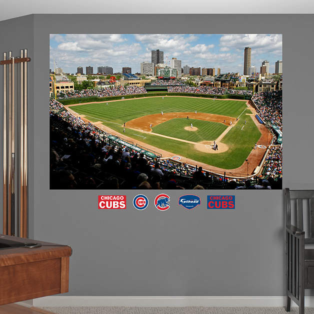 Inside wrigley field mural wall decal shop fathead for for Baseball field mural