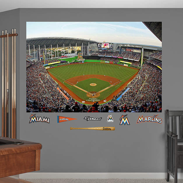 Inside marlins park mural wall decal shop fathead for for Baseball field mural