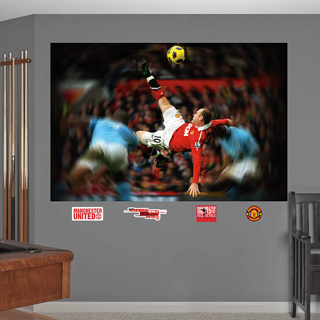 Wayne Rooney Bicycle Kick Poster Wayne Rooney Bicycle Kick Mural Wall Decal Shop Fathead for