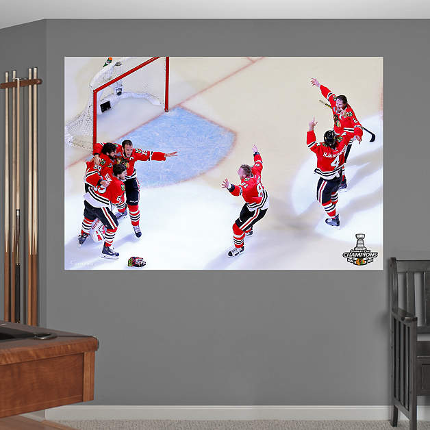 Chicago blackhawks 2015 stanley cup celebration mural wall for Blackhawks mural chicago
