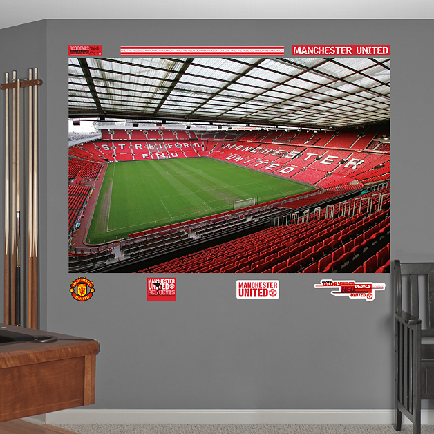 Inside old trafford mural wall decal shop fathead for for Man u bedroom wallpaper