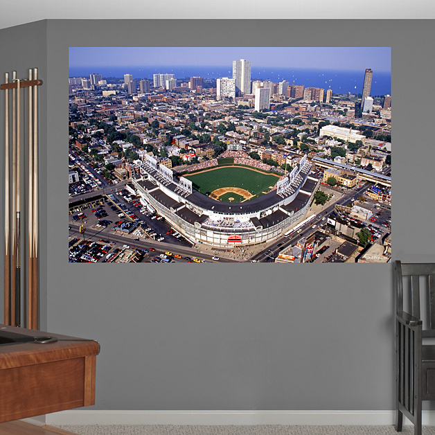 Wrigley field aerial mural wall decal shop fathead for for Baseball field mural