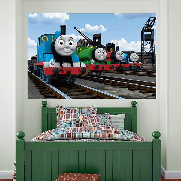 thomas and friends group mural thomas and friends kids. Black Bedroom Furniture Sets. Home Design Ideas