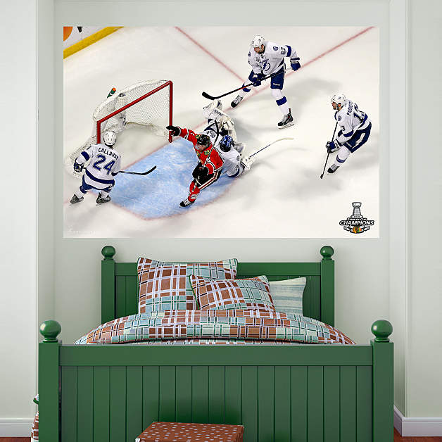 Chicago blackhawks 2015 stanley cup game winning goal for Blackhawks mural chicago
