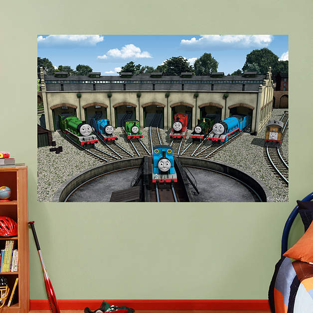 thomas and friends station mural thomas and friends kids. Black Bedroom Furniture Sets. Home Design Ideas