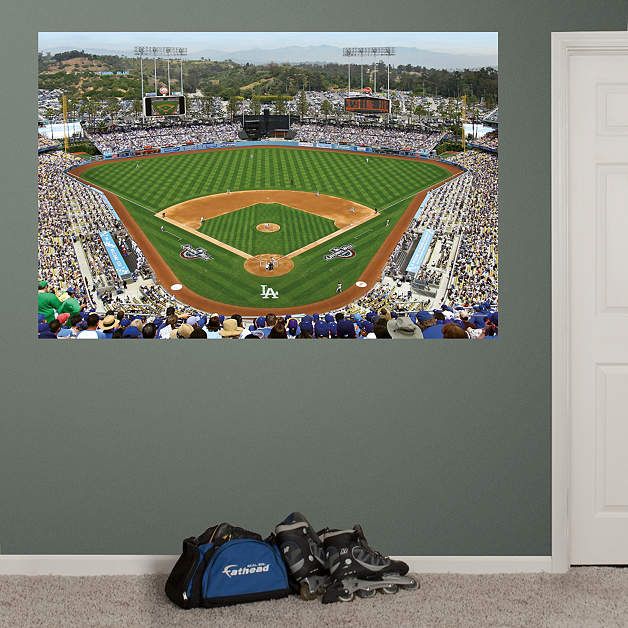 Inside dodger stadium mural wall decal shop fathead for for Baseball field mural