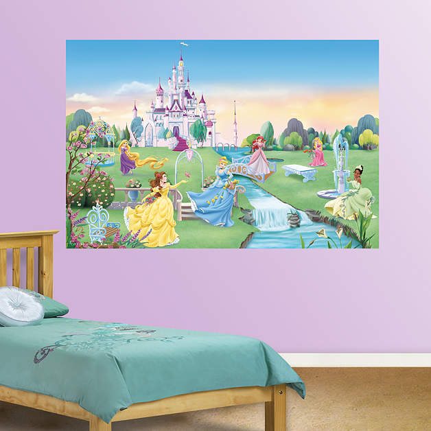Disney princess mural fathead wall decal for Disney princess castle mural