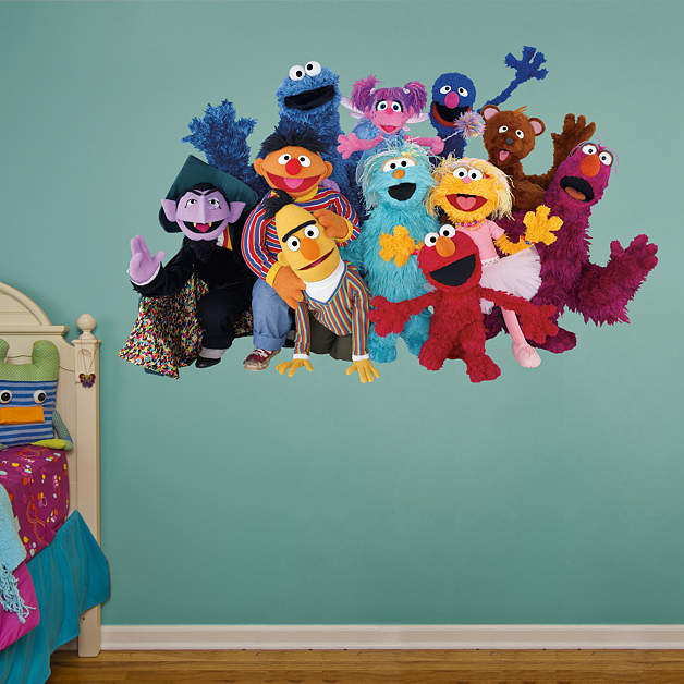 sesame street group fathead wall decal. Black Bedroom Furniture Sets. Home Design Ideas