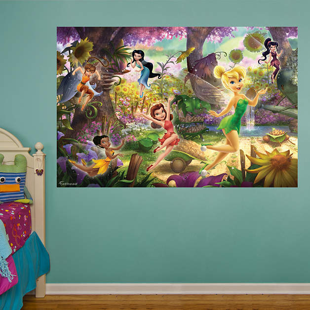 Disney fairies mural wall decal shop fathead for disney for Disney tinkerbell mural