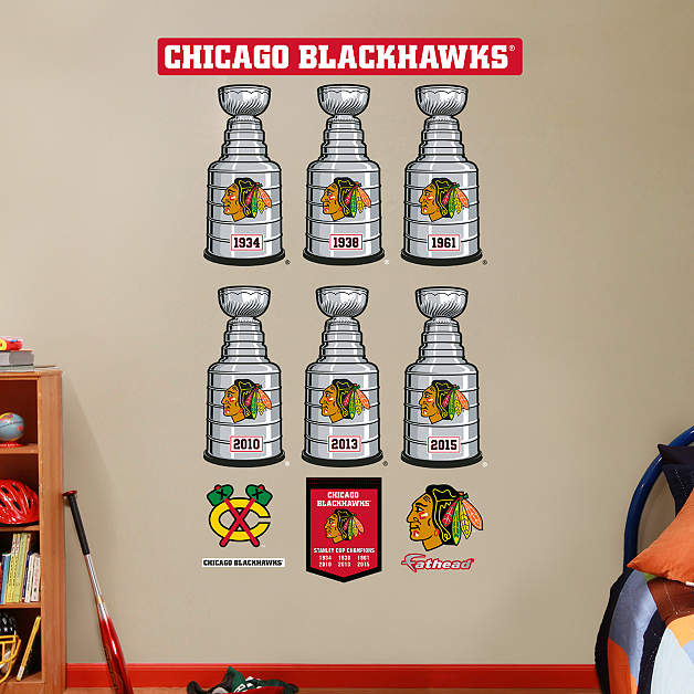 Chicago blackhawks stanley cup collection wall decal for Blackhawks mural chicago