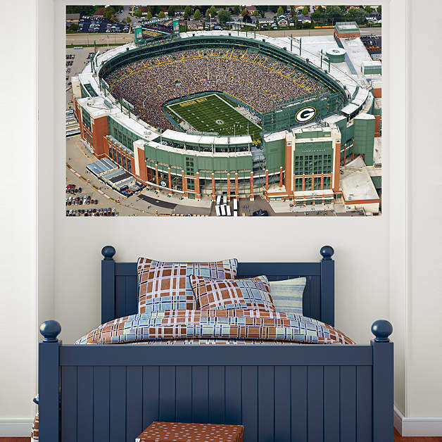 Lambeau field aerial mural wall decal shop fathead for for Bay view wall mural