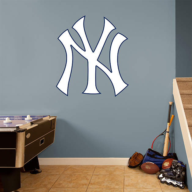 yankees logo wall decal shop fathead for new york yankees decor