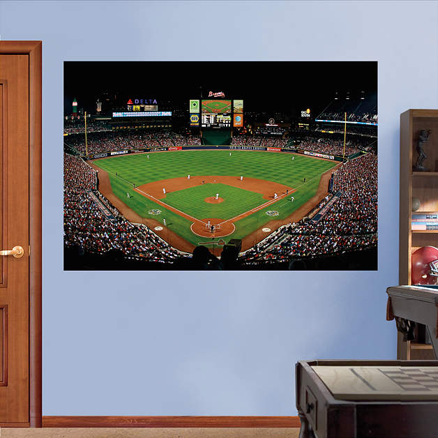 Inside turner field mural wall decal shop fathead for for Baseball stadium wall mural kit
