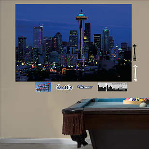 Seattle Skyline By Night Mural