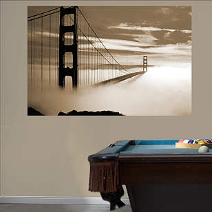 Golden Gate Bridge Fog Mural