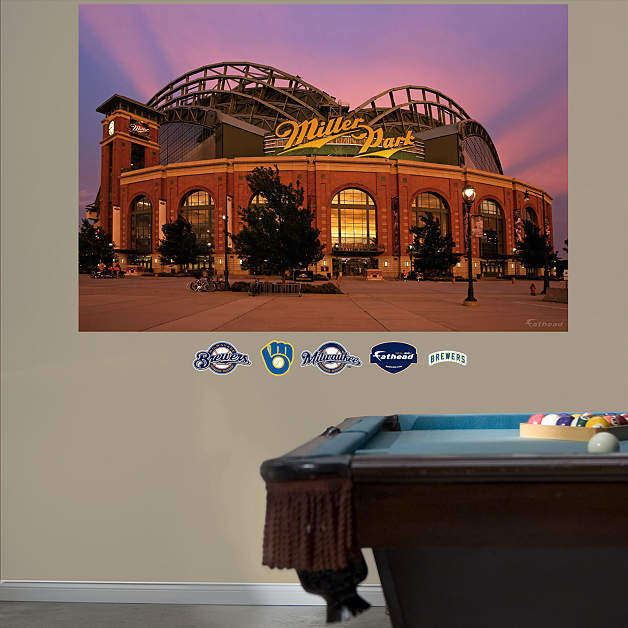 Miller park scoreboard dimensions crafts for Baseball stadium wall mural kit