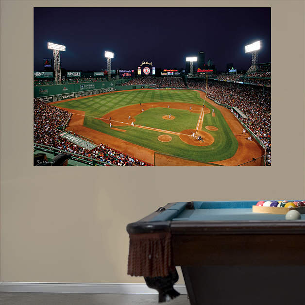Inside fenway park at night mural wall decal shop for Boston wall mural