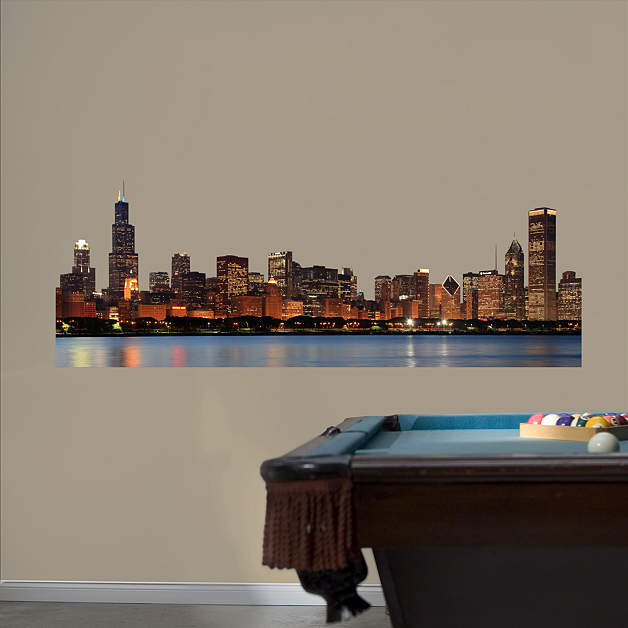 Chicago skyline cutout wall decal shop fathead for for Chicago skyline wall mural
