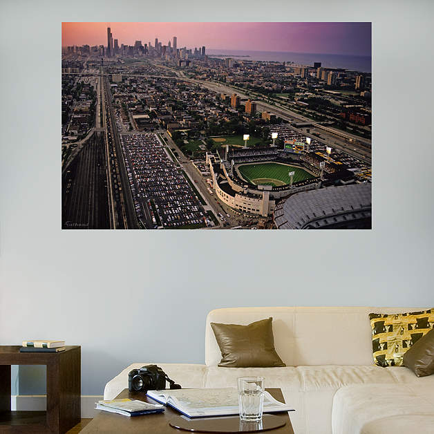 Comiskey park skyline mural wall decal shop fathead for for Chicago skyline wall mural
