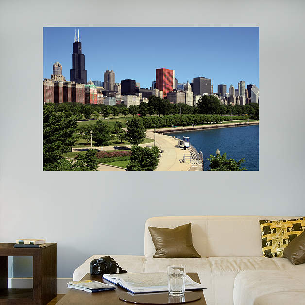 Chicago lakefront mural wall decal shop fathead for for Chicago wall mural