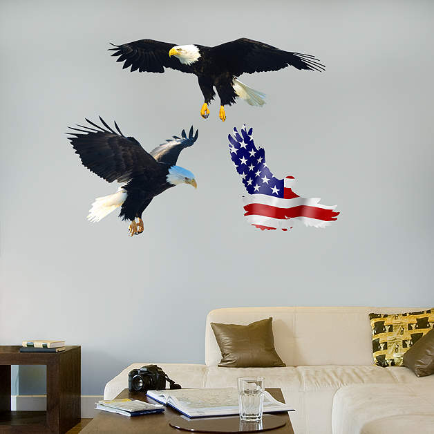Bald eagle wall decal shop fathead for general animal for Eagle wall mural