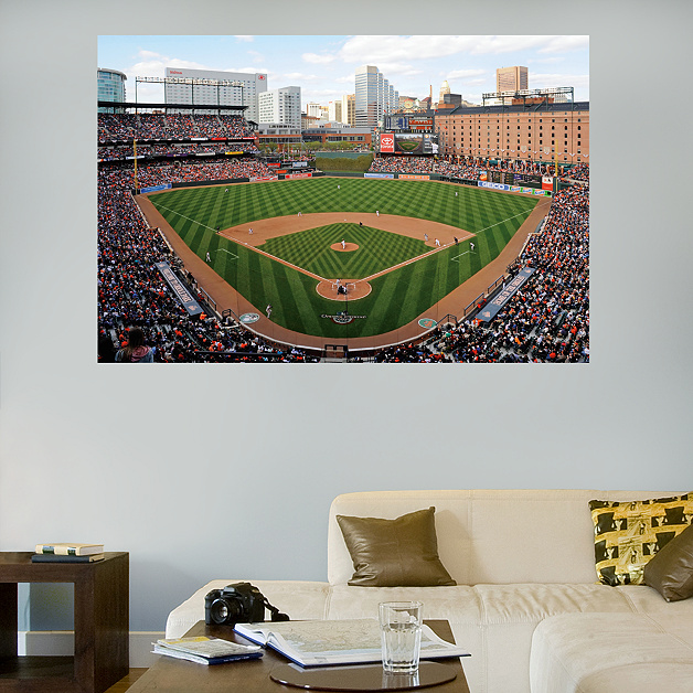 Inside oriole park at camden yards mural wall decal shop for Baseball stadium wall mural