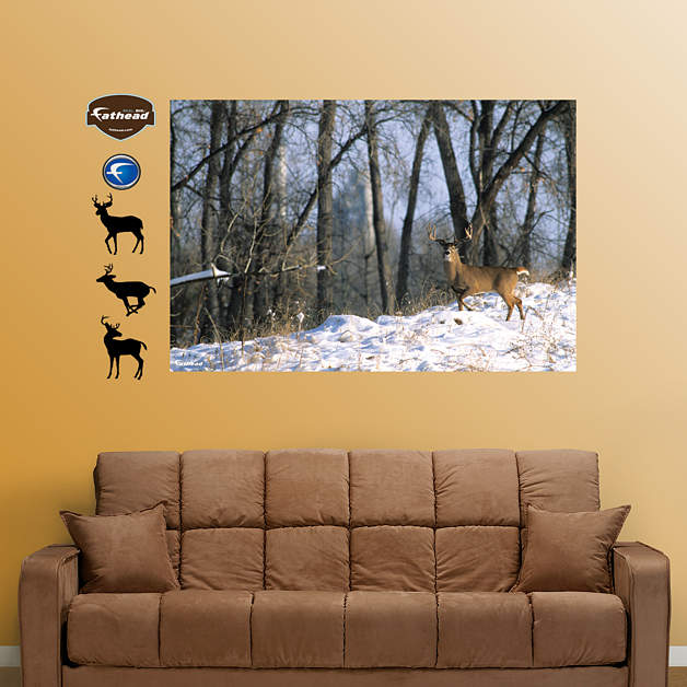 Deer in the woods mural wall decal shop fathead for for Deer landscape wall mural
