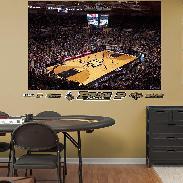 Purdue basketball mural mackey arena wall decal shop for Basketball court wall mural