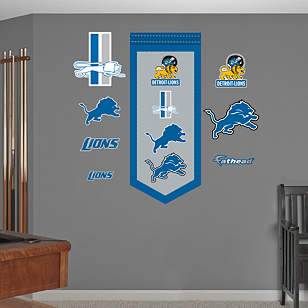 Detroit Lions Logo Evolution Banner