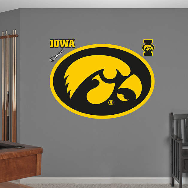 Life size iowa hawkeyes logo wall decal shop fathead for Iowa hawkeye decor