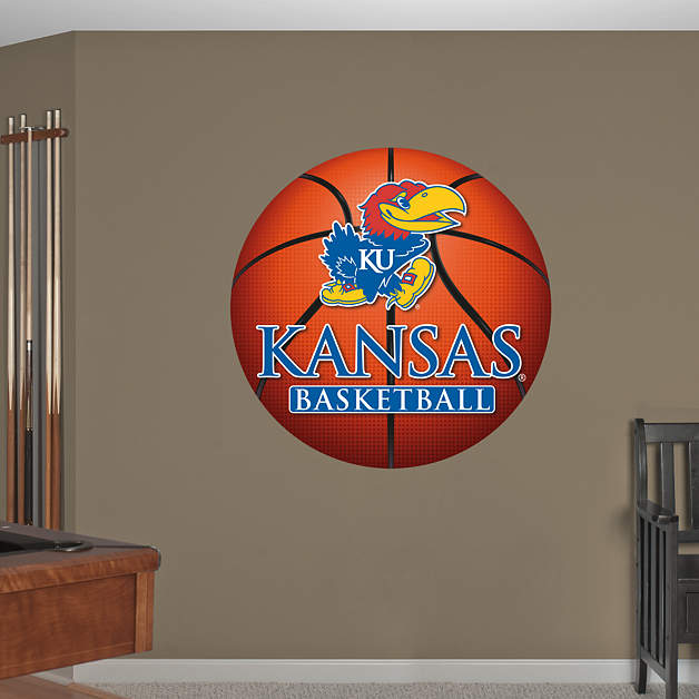 Kansas jayhawks basketball logo wall decal shop fathead for Basketball mural wallpaper