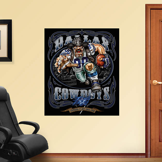 Crusher cowboy grinding it out mural fathead wall decal for Dallas cowboys wall decals for kids rooms