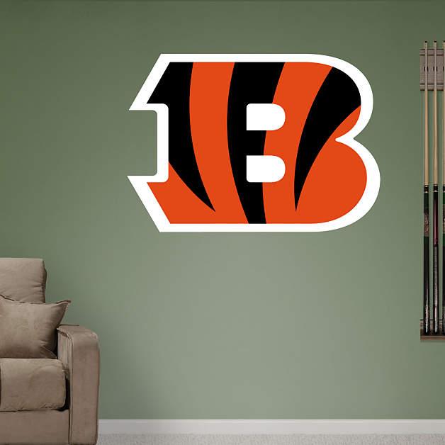 Cincinnati bengals b logo fathead wall decal for Bengals bedroom ideas