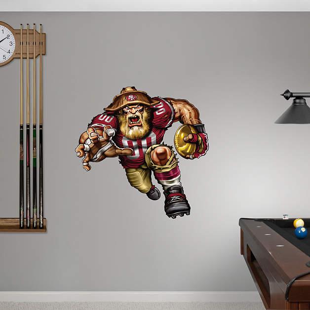 Ferocious 49er fathead wall decal for 49ers wall mural