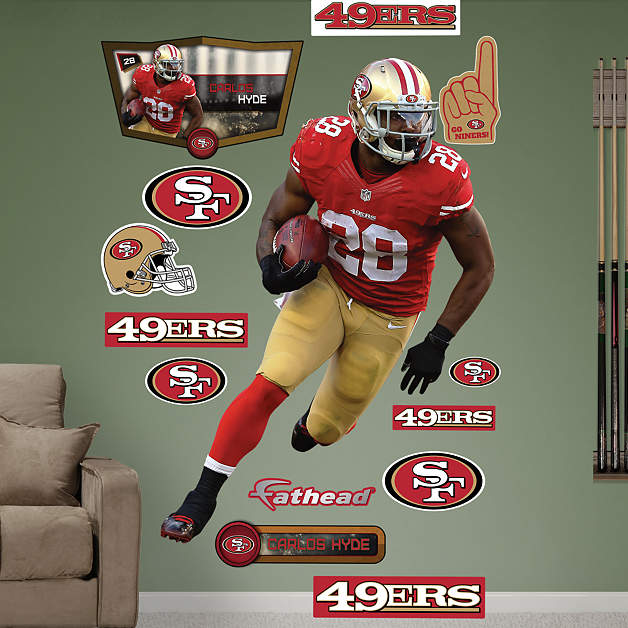 Life size carlos hyde wall decal shop fathead for san for 49ers wall mural